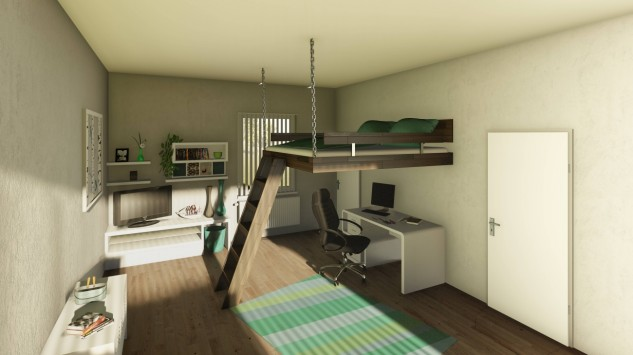 Bunk bed in the space