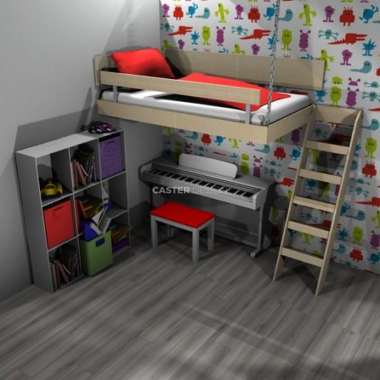 Bunk single bed, suspended