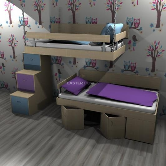 Bunk bed, suspended
