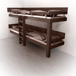 Bunk beds Quadruple bed -straight ladder